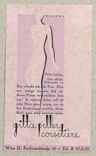 Business Card, Gitta Peller, Corsetière, Wien