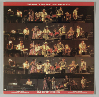 Album cover, Recto: At top is a narrow red border with the album's title, centered, imprinted in white capitals; at bottom, an identical border, with Live 2 LP Set (1980-1981), centered, in capitals, and song titles in smaller capitals on each side. Five horizontal rows of color photographs of the band members in performance, shot indoors and brightly lighted, with brown and red tones predominant, complete the design. Verso (In reverse top-to-bottom order from the recto): The top and bottom border design of the recto is repeated here in black. At top the album's name is imprinted in white italicized capitals and at bottom, Live 2 LP Set (1977-1979), also in italicized capitals, is centered, with song titles on both sides. Three rows of square, nighttime photographs of the band in performance, clearly lighted but lacking highlights, complete the design. Sleeve 1977-1979, Recto: The narrow white border at the top shows the album title, centered, imprinted in black italics. The design comprises eight horizontal rows, each showing eight square photographs of the band's musicians, seen either in individual head shots or in groups, either in black-to-brown and white tones or in color. Underneath the white border and then following every second row are thin black bands, imprinted in white capitals with the musicans' names  and other production information. Verso: With the recto's black and white scheme reversed within the narrow border at the top, the album title, centered, is imprinted in italics. The design format of the recto is replicated, with the exception that here the top row and every second row are bordered by thin black bands, imprinted in white with the musicians' names and roles, as well as with additional production information. (M&Co. is identified as the designer toward the center of the second band from the top.) Sleeve 1980-1981, Recto: Following a design similar to the 1977-1979 sleeve, there is a red border at top imprinted in white capitals with the album title. in the present sleeve, eight rows of eight photographs in black and white or in color, of musicians, individually or in groups, are divided horizontally by thin black bands, imprinted in white capitals with musicians' names and production information. On the right of the sixth row, TWA appears in italicized capitals on a sign such as would appear at an airport; within the sign, Talking Heads is scribbled in capitals below TWA. Verso: The design replicates the recto's format, but here the photographs of the band's personnel include both performance and behind-the-scenes content.