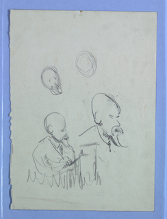 Four sketches of a male figure.