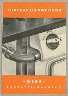 """Brochure, Gebrauchsanweisung """"Gebe"""" / Schalter-Gasherd"""