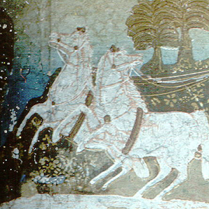 Woman in Roman chariot drawn by two horses. White, pink and brown on shaded field of buff and blue.
