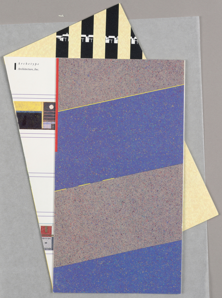 Brochure folded intentionally haphazardly; printed in wide stripes of blue and muddled brown with blue; back page viewed in striped yellow and black. Unfolded, depicts architectural plans, elevations, descriptive text in black.