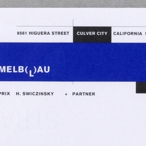 "At upper left corner, text in blue, black, and white, integrated with thin black lines and rectangular, irregular blocks in blue and black. Long blue block with company name in white type: CoopHimmelblau, with dropped ""L"" between pair of parentheses. Above blue rectangle in black is address. Below is printed in black: WOLF D. PRIX H. SWICZINSKY + PARTNER. Published by CoopHimmelblau Architects, Los Angeles Office."