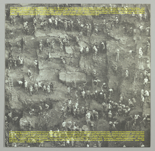 "Recto: This photographic long range image of gold miners in Brazil by Sebastiao Salgado was reproduced in the present cover design. The presence of long ladders hung against rock which the miners must continually ascend to reach the next level emphasizes the back-breaking nature of the work.  The name of the lead musician, Jerry Harrison, and album title, Casual Gods, are imprinted in yellow script horizontally on one line within the top quarter.  Verso: A close-up image of miners carrying heavy sacks on their backs while climbing up ladders is another reproduction of Salgado's work. The names of the album's songs are imprinted in small yellow letters on one line close to the bottom edge. Production information appears in yet smaller type underneath. Inner sleeve: Recto - This shows a medium range view of the miners at work. Several horizontal lines of small yellow type near the top edge include the names of the musicians and songs. An additional number of lines regarding the record production are imprinted near the bottom edge. Inner sleeve: Verso - This is a close-up image of a miner's face and arms, with the same kind of heavy sack across his back, seen in the album image (verso). His face is grimy and perspiring and reflects exhaustion, resignation and desperation. The two lines of yellow type at the bottom, unattributed here, include the phrase ""the bewildering indifference of casual gods,"" referring both to the source of the miners' plight and the album title."