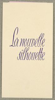 Announcement, La Nouvelle Silhouette / W&A Glaser