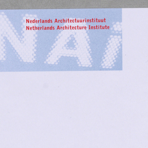 At upper left, blurred NAI initials in white inside blue horizontal rectangle, superimposed with imprinted red institution name in Dutch and English.  At upper right and lower right, address etc. imprinted in black.