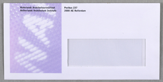 Letter-sized horizontal mailing envelope with transparent window for viewing recipient's address.  Imprinted  at upper left: NAI name and address (in black). Blurred NAI logo in white on purple ground at left side.