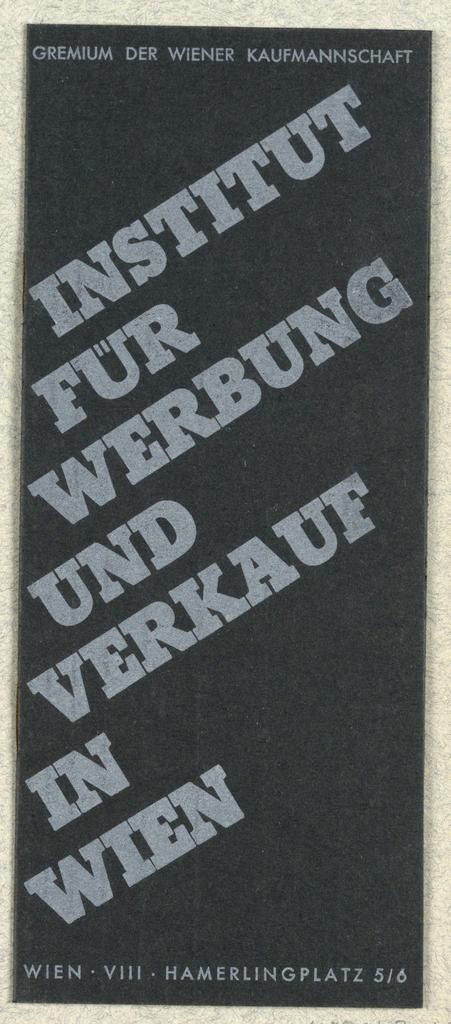 Brochure, Institut für Werbung und Verkauf in Wien