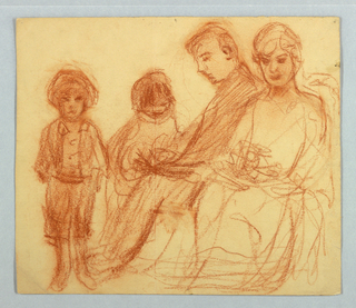 Sketch of a seated couple with two children.