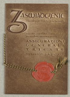 Brochure, Zaswiadczenie... Voyages... Warsaw