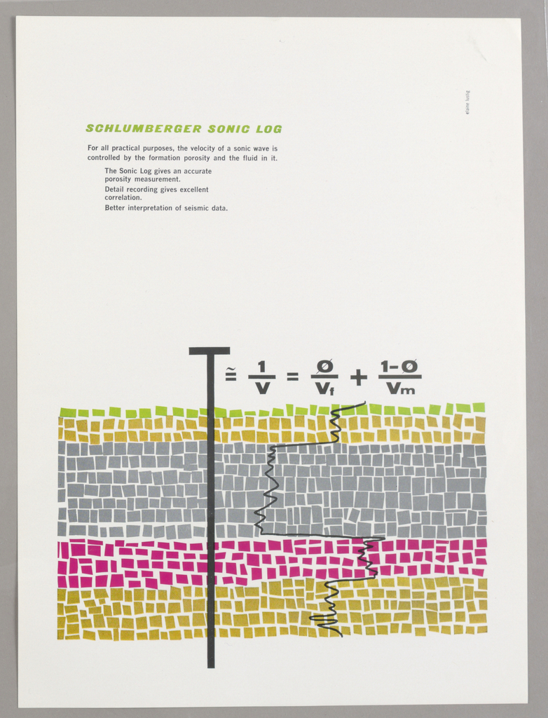 """Vertical format print advertisement tear sheet. At lower half of composition, five horizontal layers of colored blocks in gold, pink, gray, and green, representing layers of the earth with grass at surface. At left, a black """"T"""" extends from above ground through all layers, simulating the product advertised. The """"T"""" is also the first letter of an equation, which follows in black text at right. Under the equation is a squiggly line depicting a wave in the earth."""