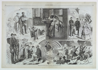 Double-page spread of vignettes showing people receiving news about the Civil War. Upper center, a woman weeps with her head on her hand, while holding a letter. Lower left, self-portrait of Winslow Homer sketching soldiers, labeled below: Our special Artist.