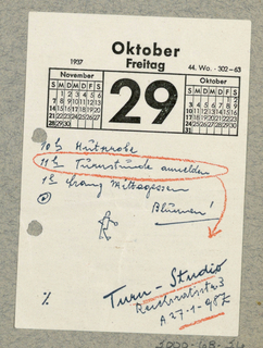 Calendar page with notation referring to Turn-Studio.
