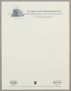 Letterhead, The Bead Chain Manufactur, ca. 1940–65