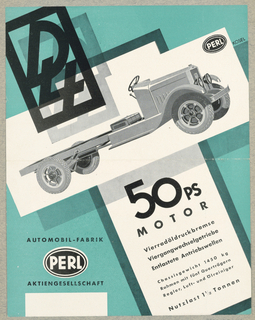 Brochure, Automobil-Fabrik Perl - 50ps Motor