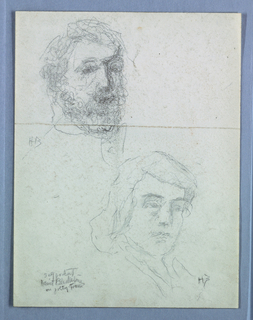 Partial sketches of a male figure and a female figure.