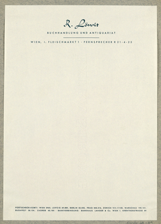 Letterhead, R. Löwit, Buchhandlung und Antiquariat, Wien [R. Löwit, Antiquarian Book Dealer, Vienna]