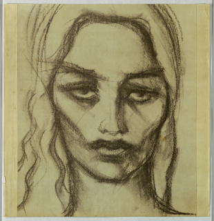 The present view occupies the full page. Dark outlines prevail. The eyebrows are formed by lines slanting upward over raised eyes. The lips are closed and cheekbones heavily shaded, contributing to the forbidding, even hostile, expression. Wavy, unkempt hair frames the face.