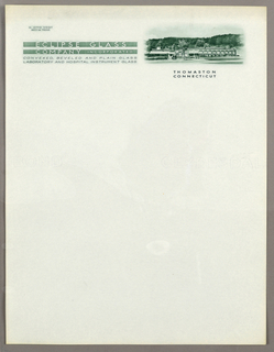 Letterhead, Eclipse Glass/Company inc, ca. 1940–65