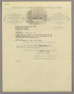 Letterhead, Anderson Lamb Photogravur, ca. 1940–65