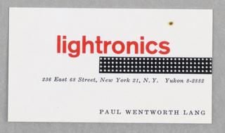 Business Card, Lightronics, 236 East 68th Street, New York, NY