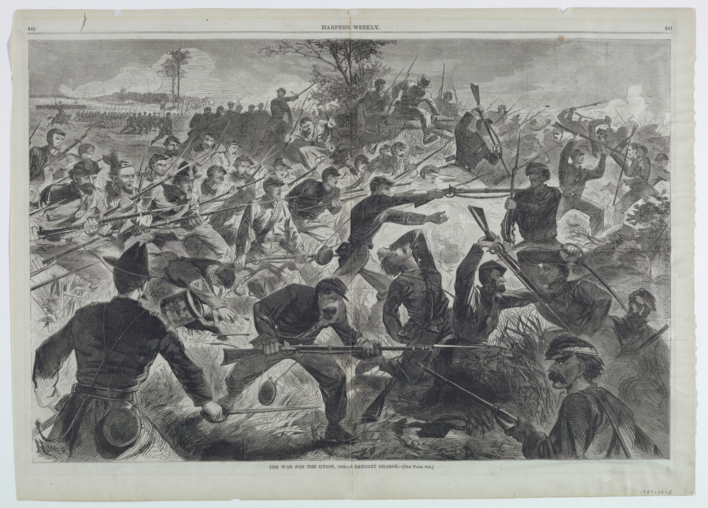Double page illustration for Harper's Weekly. Union soldiers charge from the left, bayonettes pointed ahead, towards the battle, at right. At lower left, a Union offier is shown with sword drawn, his back to the observer.