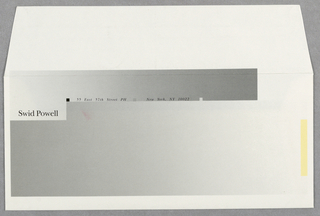 White envelope; gray gradient covers most of envelope. Upper left: Swid Powell; upper section: 55 East 57th Street PH; New York, NY 10022. Yellow bar on the right.