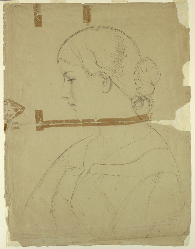 Drawing, Woman in Profile, Model in Rome, 1840