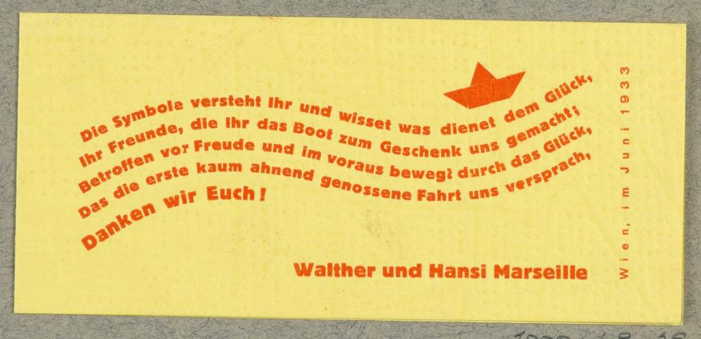 Business Card, Walter und Hansi Marseille