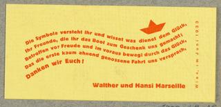 Business Card, Walter und Hansi Marseille, 1938