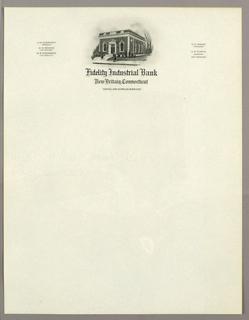 Letterhead, Fidelity Industrial Bank,, ca. 1940–65