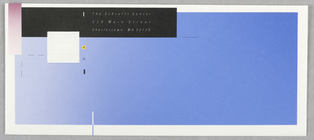 Blue envelope with white border; upper left black rectangle with white text: The Schrafft Center / 529 Main Street / Charlestown, MA 02129; upper left vertical pink rectangle, beneath this, white embossed square: Skolos / Wedell / Raynor; in black: + / Inc.