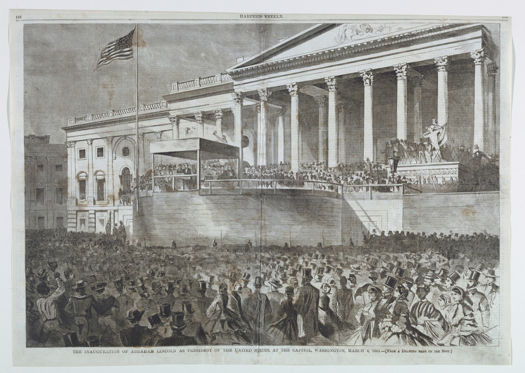 Horizontal scene before the Capitol building showing Lincoln addressing the audience from a specially constructed platform in front of the entrance to the Rotunda, with crowds visible in the foreground.