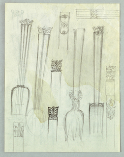 Recto: Designs for flatware, most of which incorporate foliate motifs at the tips of the handles, are lined up vertically over the full page. One partial view appears in the top right corner.  Versto: The page is covered by designs for flatware, vertically and horizontally placed, and in some instances, overlapping. The designs encompass foliate, geometric and abstract motifs, and In several instances, cover the entire handle.