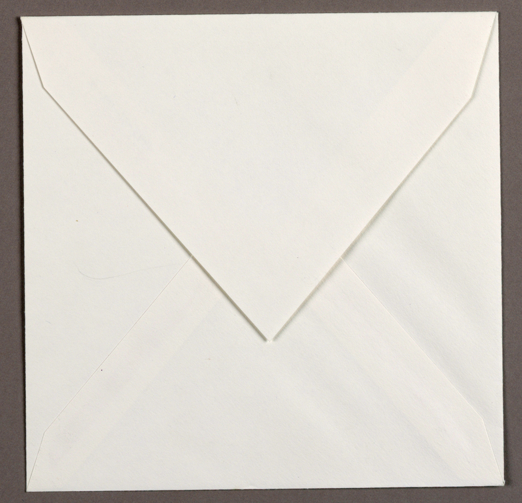 Square format white envelope for greeting card.