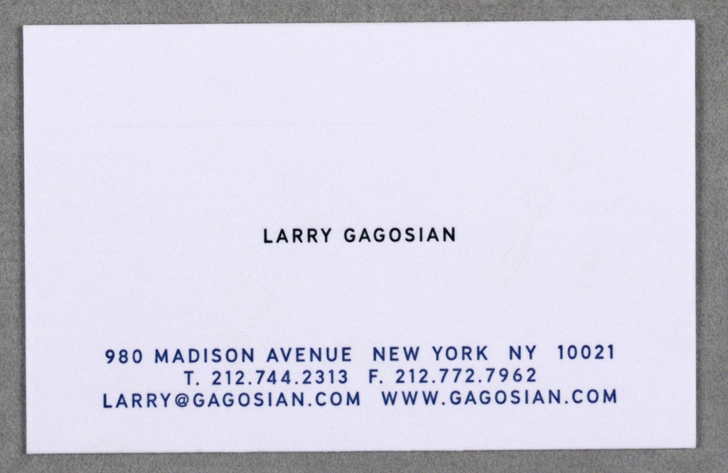 Business card business card for gagosian gallery new york 2000 business card for gagosian gallery new york imprinted larry gagosian in colourmoves