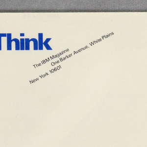Cream business envelope (has matching letterhead).  Recto: imprinted in blue ink, upper left corner, Think. Imprinted in black ink, upper left quadrant, company title and address.