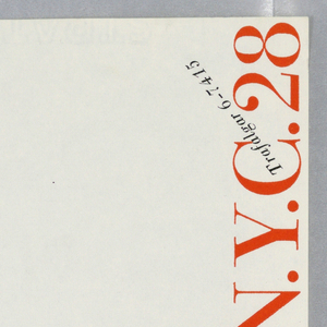 Elaine Lustig letterhead with red and black printed text printed vertically at right margin on white ground.