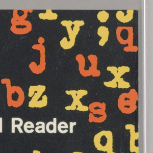 "Cover design for ""The Ideal Reader: Selected Essays by Jacques Rivière"".  Front cover features black background with scattered blurred letters in yellow and red-orange typewriter font along the right side, white printed text at left. Spine is white with orange and black printed text. Back cover features red-orange printed text description on a yellow background."