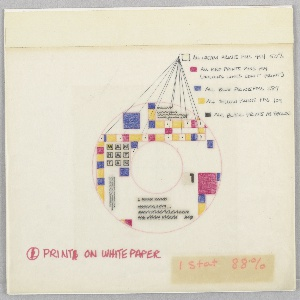 Drawing of a record label with blocks of yellow, red, and blue; MAN / HAT / TAN on left; scribbling lower section of label. Upper right, in black ink, notations next to colored blocks: ALL CREAM PRINTS PMS 454 50% / ALL RED PRINTS PMS 199 / (HOLDING LINES DON'T PRINT) / ALL BLUE PRINTS PMS 287 / ALL YELLOW PRINTS PMS 109 / ALL BLACK PRINTS AS SHOWN. Lower left, in red marker PRINT ON WHITE PAPER; on tape: 1 Stat 88%.