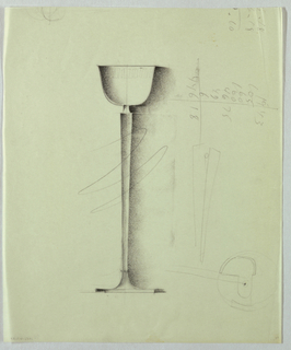 The reverse bell-shaped shade appears to be fabricated of opaque white glass, and is decorated by a geometric frieze at the top. The shade sits on a shaft, probably metallic, which tapers from top to bottom, where it again widens into the horizontal base. Shading is prominent on the sides of the lampshade and throughout the shaft.