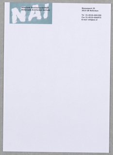 "1/2-sheet letterhead for NAI.  At upper left, blurred ""NAI"" inside blue horizontal rectangle.  At upper right,  address, etc.  imprinted in black."