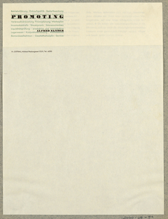 Letterhead, Promoting Alfred Sander