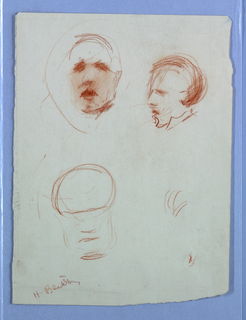 Three partial sketches of a male figure.