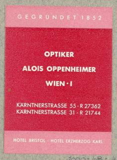 Business Card, Optiker Alois Oppenheimer [Alois Oppenheimer, Optician]