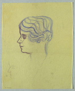 This view, in the upper part of the page, shows a woman's head in left profile: eye closed; nose tilted upward; lips slightly parted; and hair arranged in waves and pulled back in what may be a bun. An earring peeks through the hair, but no ear is visible. The hair and earring are depicted in blue, and a broken-curved blue line, lightly sketched, extends from the vertical line, also lightly drawn, indicating the back of the neck.
