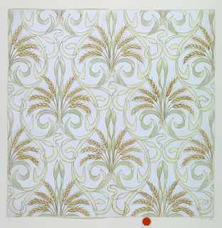 A stylized design with a repeat motif of wheat, and interlacing leaves, against a neutral background.