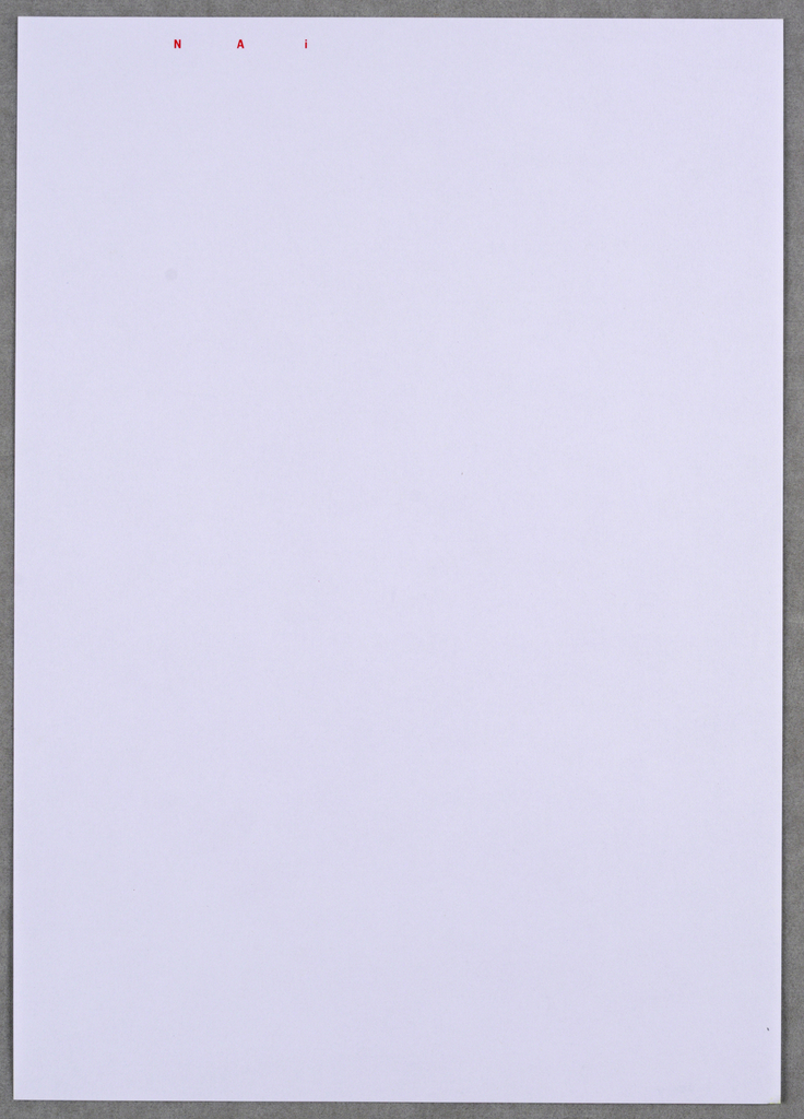 Second sheet letterhead for NAI imprinted with initials in small, red, block letters along upper edge, at left.
