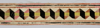 Fragment of narrow panel of white satin ground with central yellow satin stripe.  Over this is velvet in goemetric zigzag in pink and black. Cut from a large frabirc or else sevages removed.