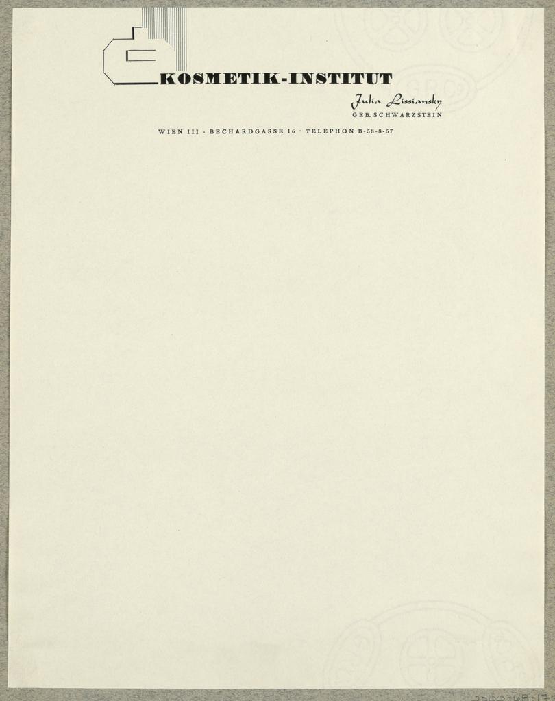 Letterhead, Kosmetik Institut